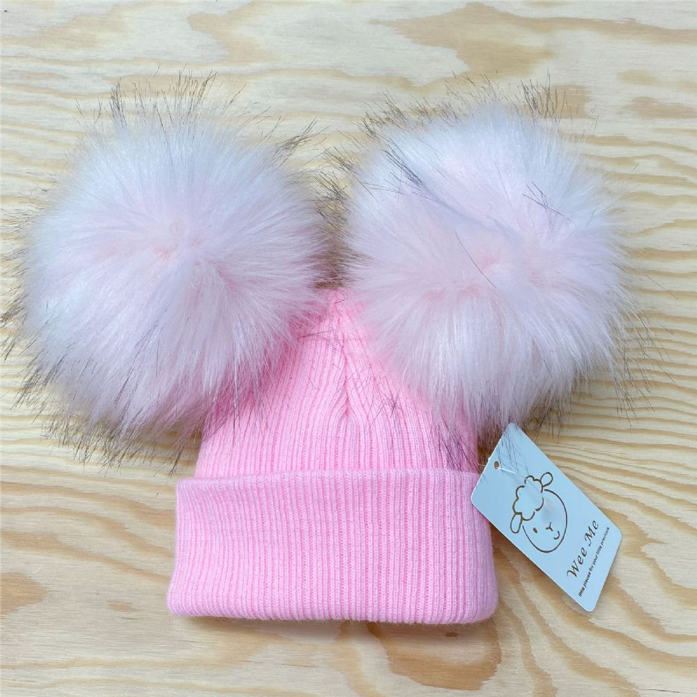 Gorgeous Baby Girl Pink Mega Pom Double Fur Pom Hat Pink